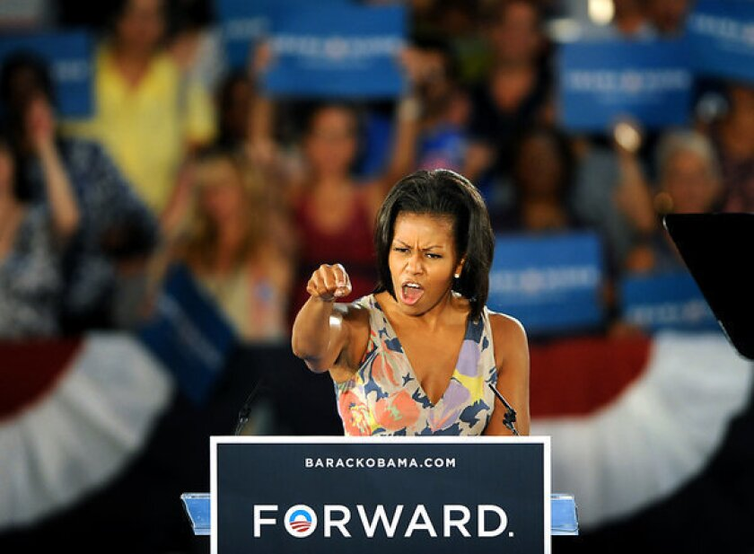 Michelle Obama mentions 'choice,' crowd cheers