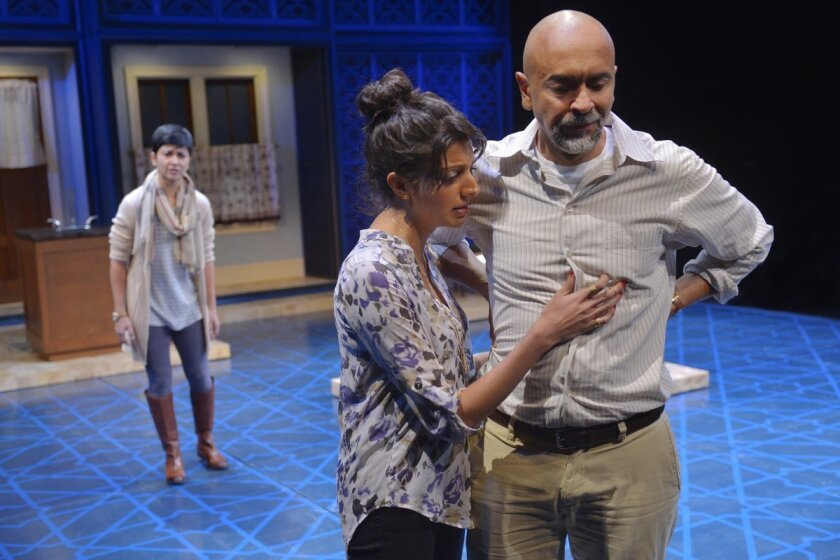 """Monika Jolly, Meera Rohit Kumbhani and Bernard White in La Jolla Playhouse's world-premiere production of Ayad Akhtar's """"The Who & The What."""""""