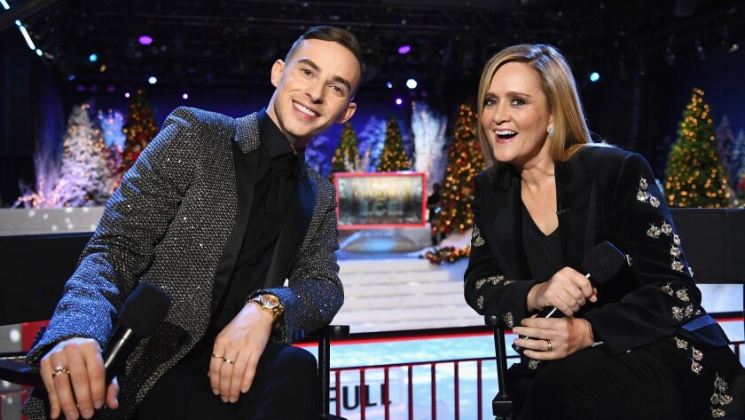 Skater Adam Rippon, left, and Samantha Bee.
