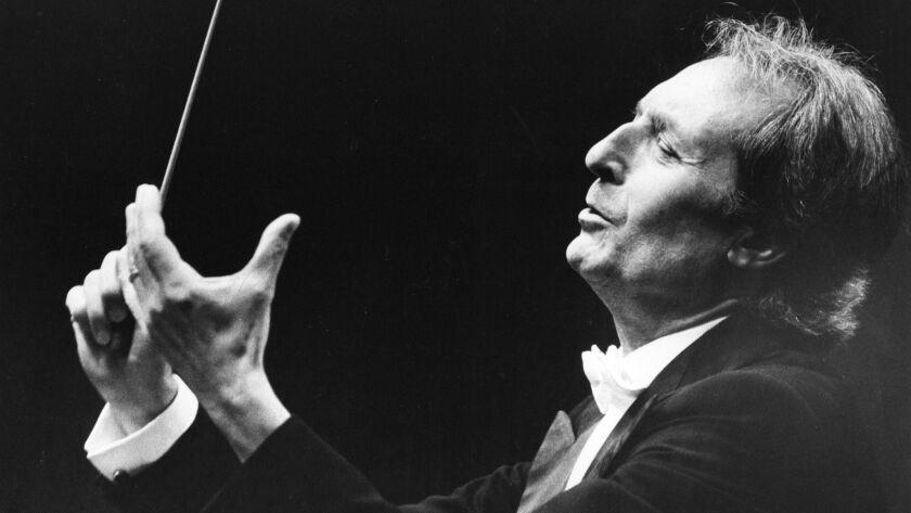 Carlo Maria Giulini conducting the LA Philharmonic in 1982 staff file photo. Photo by Gary Friedman/