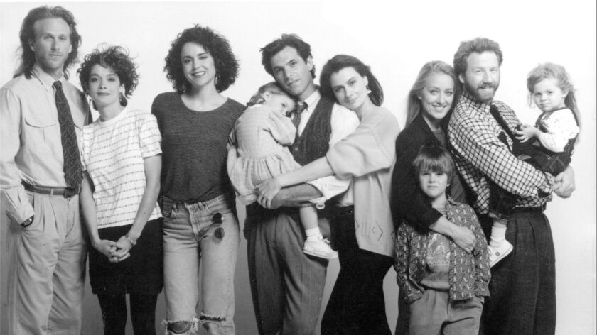 "The cast of ""thirtysomething"": Peter Horton, Melanie Mayron, Polly Draper, Brittany Craven, Ken Olin, Mel Harris, Luke Rossi, Patricia Wettig, Timothy Busfield, Jordana Shapiro."