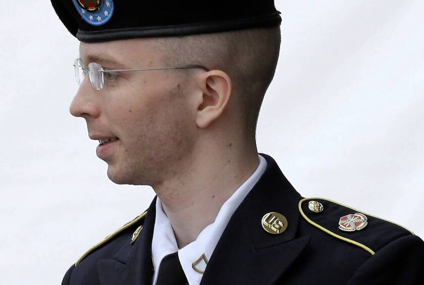 Army Pfc. Bradley Manning leaves the courthouse at Ft. Meade, Md.