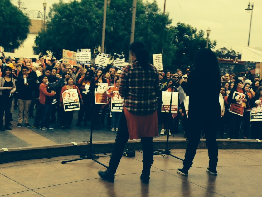 More than 500 teachers and supporters rally in November at Mariachi Plaza in Boyle Heights to demand raises and changes to work rules and policies in the Los Angeles Unified School District. The union declared an impasse in contract negotiations on Wednesday.