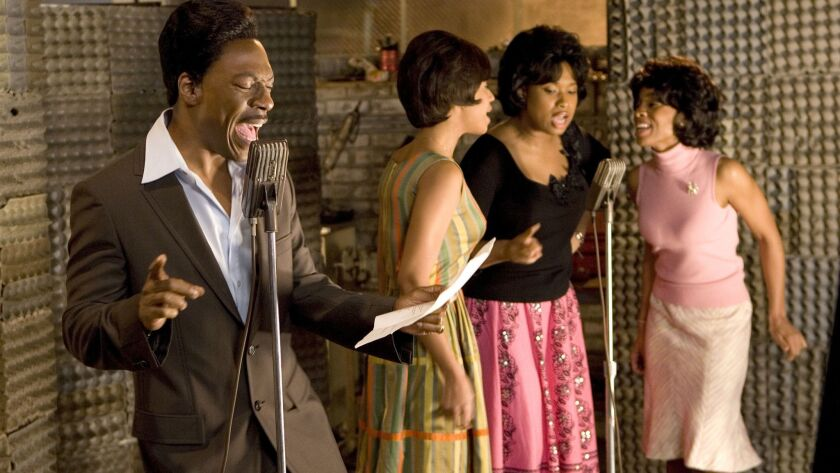 "(Left to right) Eddie Murphy as James ""Thunder"" Early, Beyonce Knowles as Deena, Jennifer Hudson as"