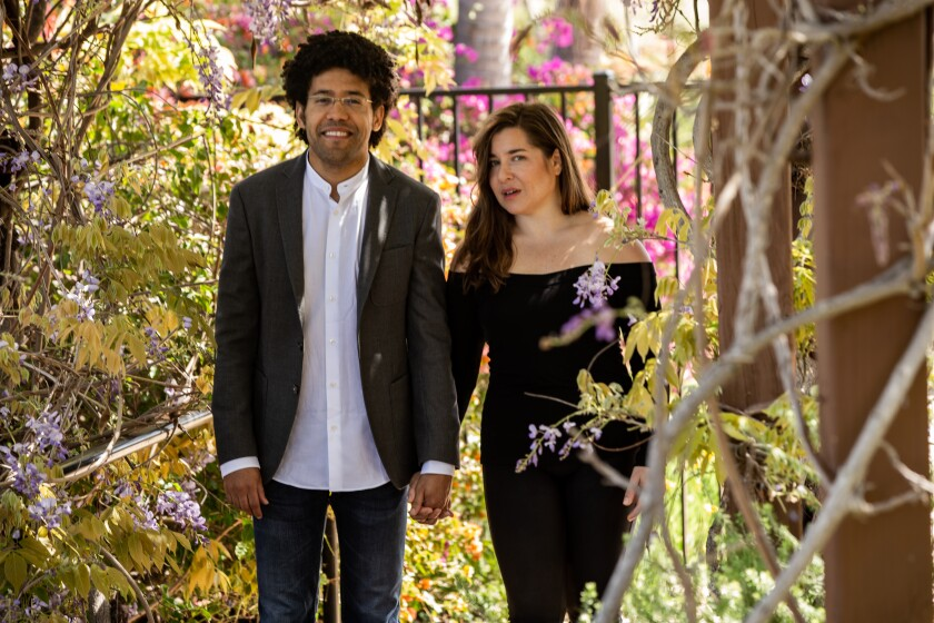 Rafael Payare and Alisa Weilerstein | San Diego, CA, USA April 3, 2020 | Jarrod Valliere (San Diego Union-Tribune 2020)