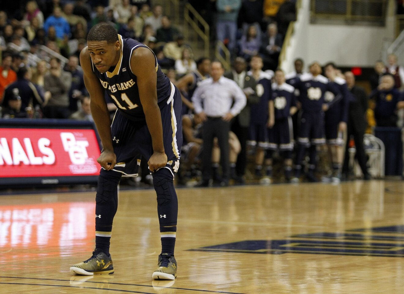 Notre Dame's Demetrius Jackson reacts late in the game.