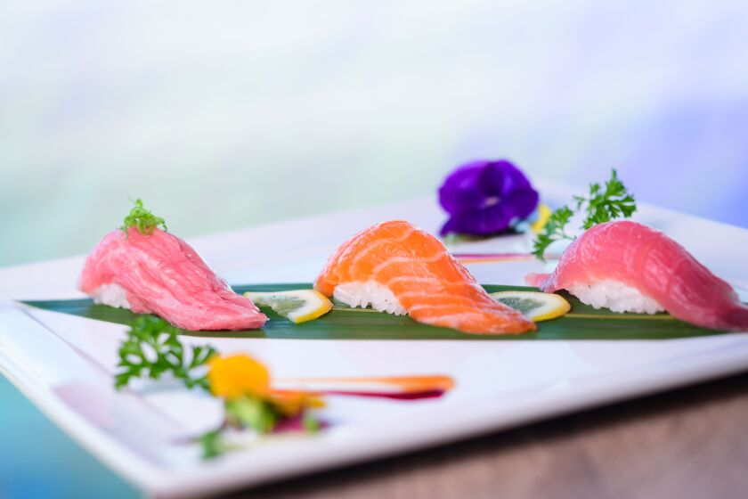 Guests can choose from a wide variety of sushi and sashimi.