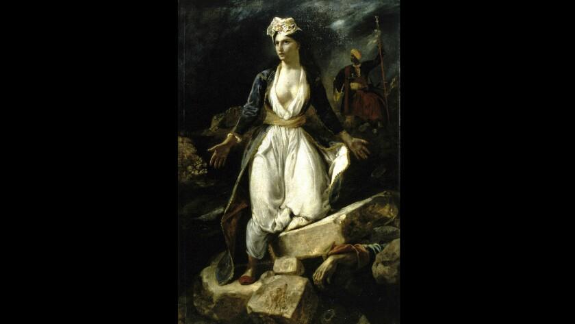 "Eugene Delacroix, ""Greece on the Ruins of Missolonghi,"" 1826, oil on canvas"