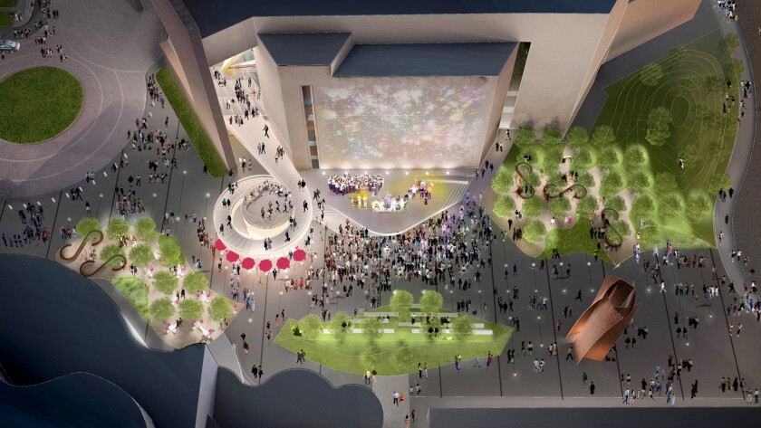 Artist's rendering of Segerstrom Center for the Arts, aerial view.