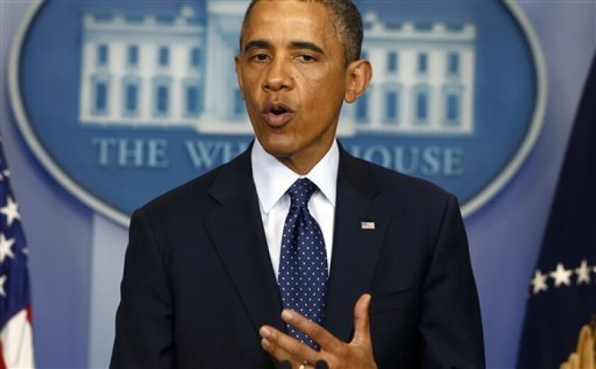 President Barack Obama speaks in the James Brady Press Briefing Room at the White House in Washington, Monday, April 15, 2013, following the explosions at the Boston Marathon. (AP Photo/Charles Dharapak)