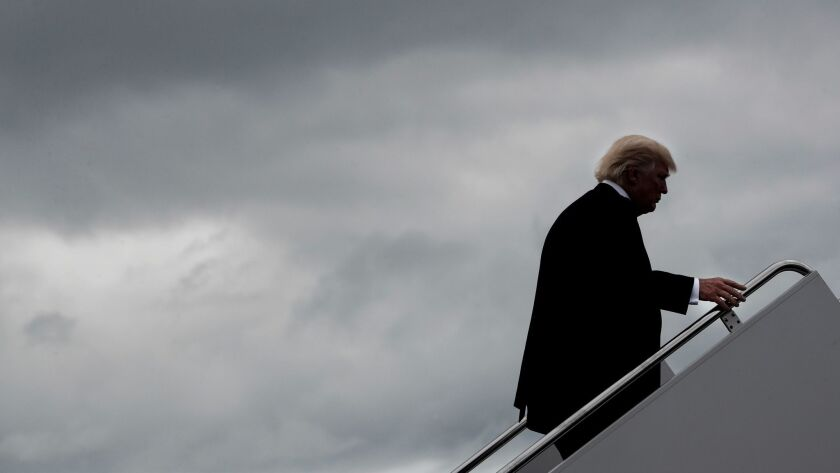 President Trump boards Air Force One at Hagerstown Regional Airport in Hagerstown, Md., after a meeting with his national security advisors at Camp David, Md.