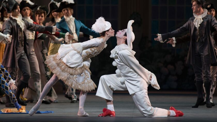 "Christine Shevchenko and Thomas Forster perform in ""Harlequinade."""