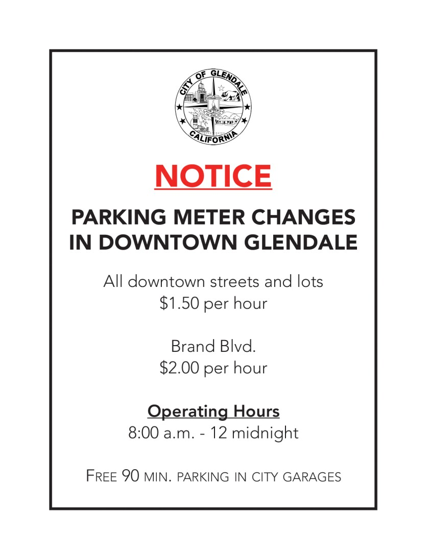 Downtown Glendale parking change notice
