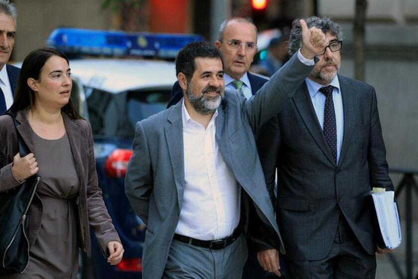 El presidente de la Asamblea Nacional Catalana (ANC), Jordi Sánchez (C). EFE/Archivo