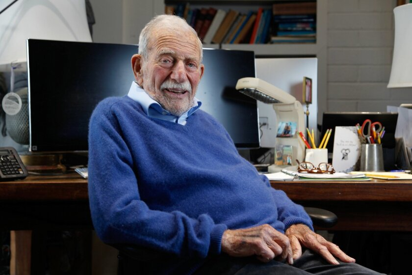 Famed Scripps Institution of Oceanographer research Walter Munk, 98, where he regularly works long days on some of the toughest problems in oceanography.