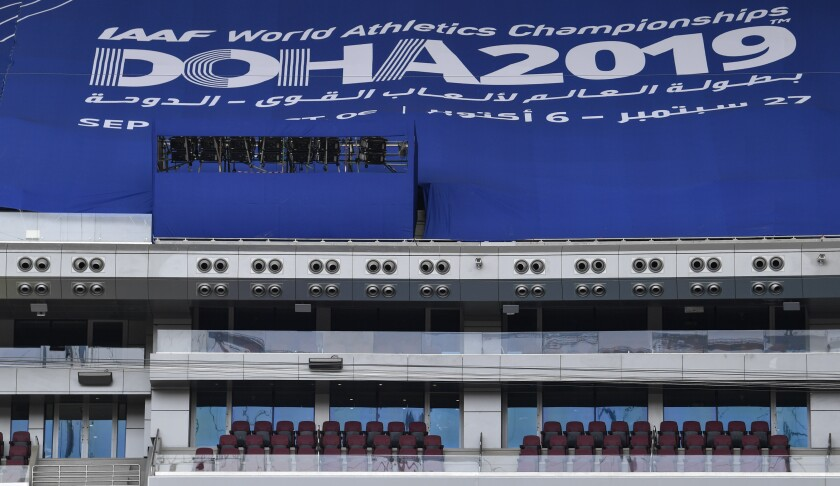 A giant air conditioning cools the Khalifa International Stadium prior the start of the World Athletics Championships in Doha, Qatar, Wednesday, Sept. 25, 2019. (AP Photo/Martin Meissner)