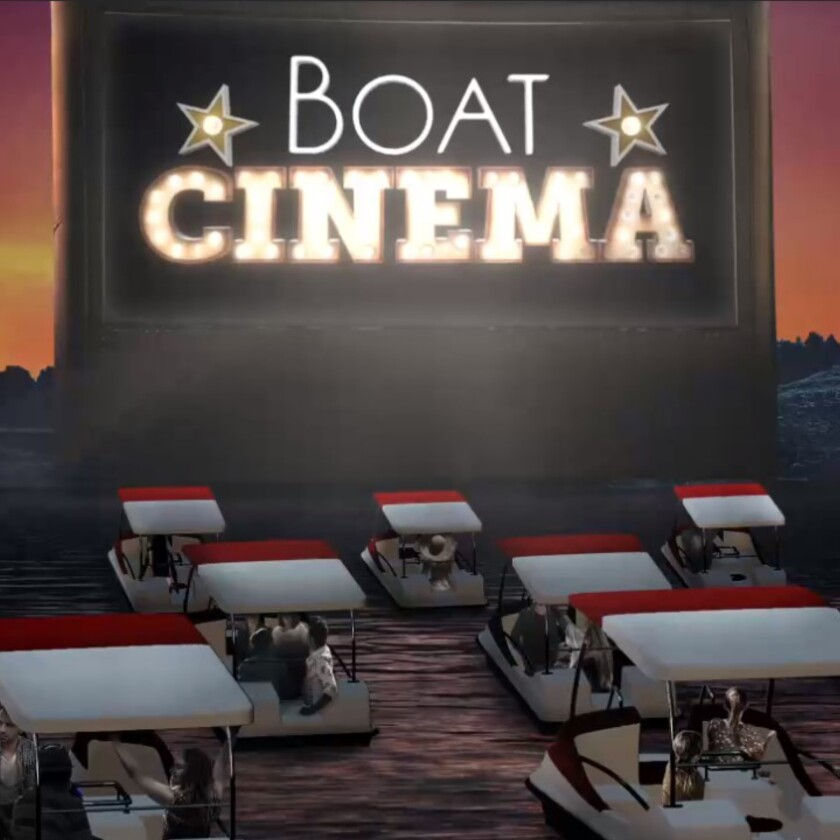 Graphic of a huge movie screen with lots of boats in the water facing it.