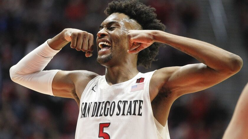 SAN DIEGO, February 9, 2019 | The Aztecs' Jalen McDaniels celebrates as the Aztecs hold a lead over