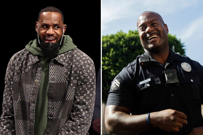 Left, LeBron James of the Los Angeles Lakers and right, LAPD officer Deon Joseph
