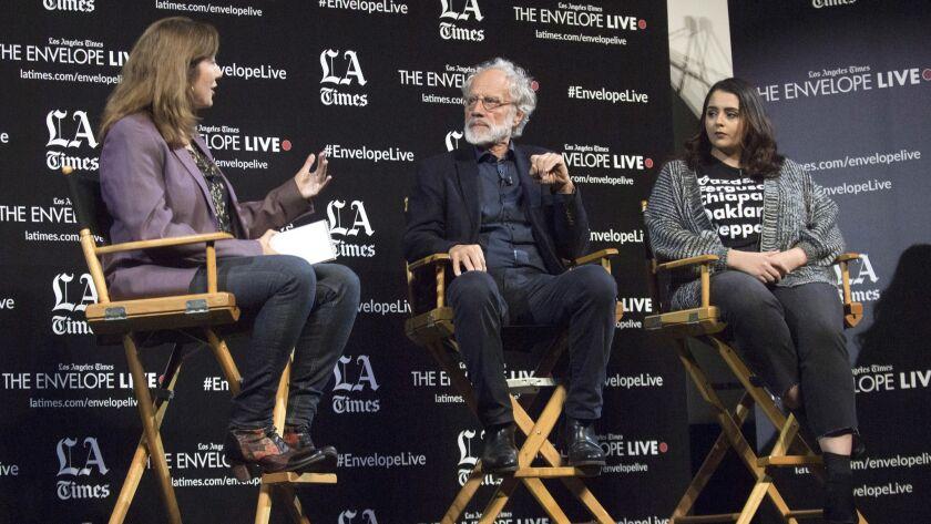 "HOLLYWOOD, CA - NOVEMBER 16, 2018: Director Markus Imhoof, center, in a Q&A for his movie ""ELDORADO"""