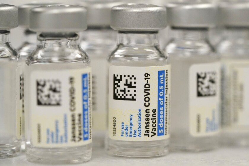 Vials of Johnson & Johnson COVID-19 vaccine