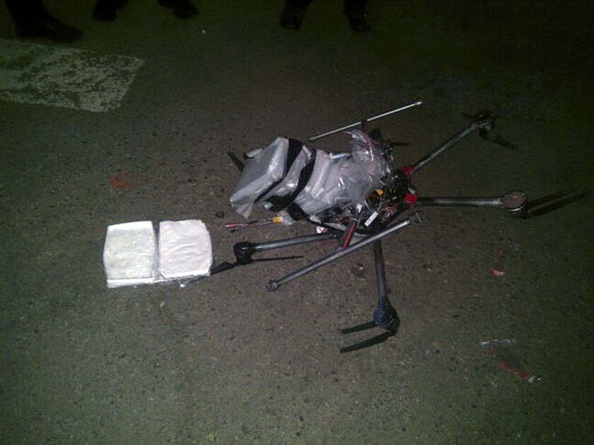 Drone loaded with packages containing methamphetamine