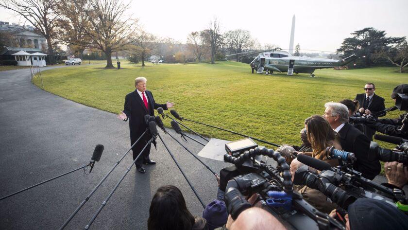 Trump makes temarks on Michael Flynn as he departs for Utah, Washington, USA - 04 Dec 2017