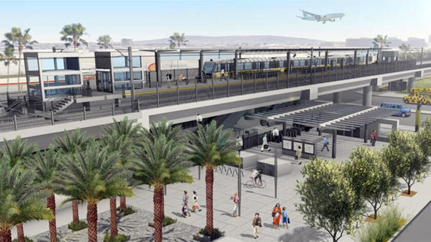 An artist's rendering of the future Century/Aviation station on the Crenshaw Line, which could see a budget increase of $120 million.