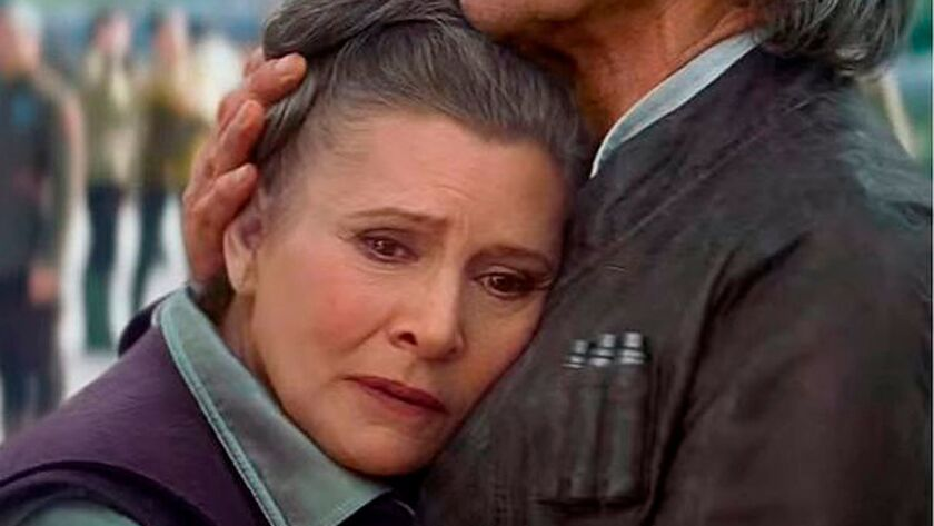 "Carrie Fisher, as Leia Organa Solo, in a scene from ""Star Wars: The Force Awakens."""