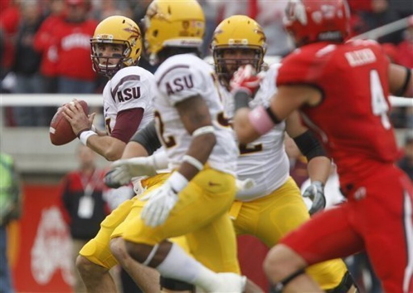 Arizona State quarterback Brock Osweiler, rear left, looks to pass against Utah during the first half of an NCAA college football game, Saturday, Oct. 8, 2011, in Salt Lake City. (AP Photo/Jim Urquhart)