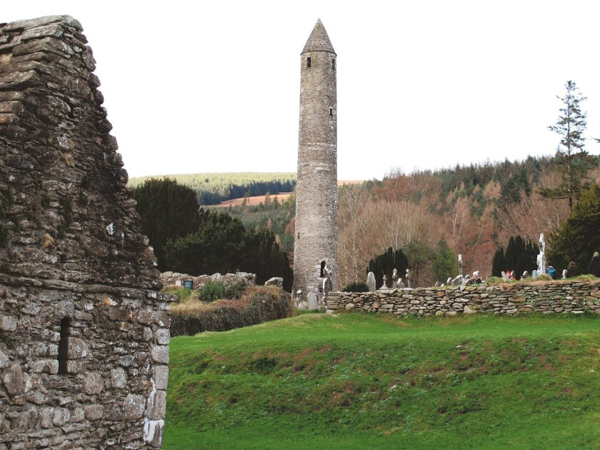 This soaring round tower is on the remains of an ancient monastic settlement founded by St. Kevin in the sixth century in Glendalough, County Wicklow.