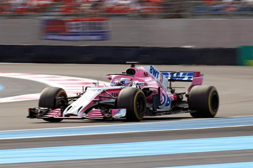 Mexican Formula One driver Sergio Perez of the Sahara Force India F1 Team in action during the 2018 French Formula One Grand Prix at Paul Ricard circuit in Le Castellet, France, 24 June 2018. EFE