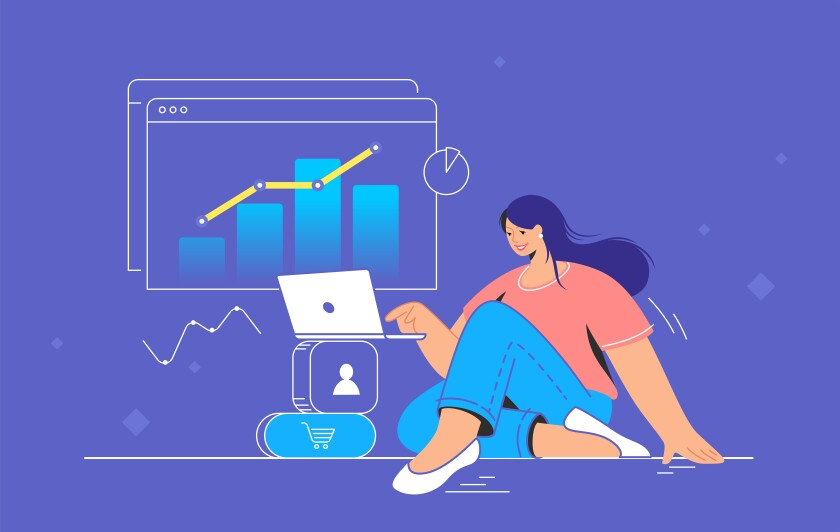 Illustration of young woman sitting with laptop and working with graphs.