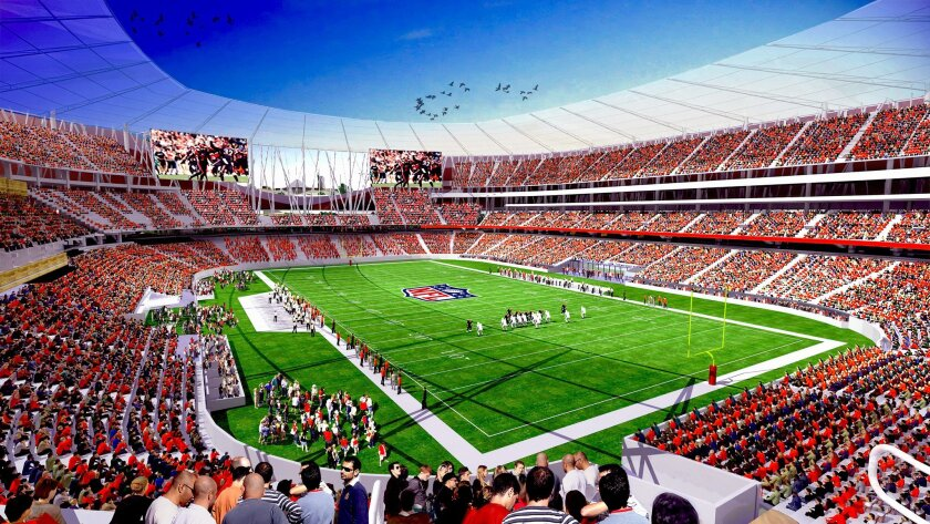 Interior of proposed SDSU multi-use stadium in Mission Valley.