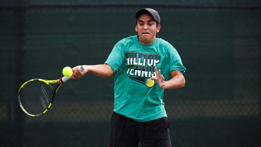 Hilltop's Ivan Smith returns after a runner-up finish in the San Diego Section singles competition.