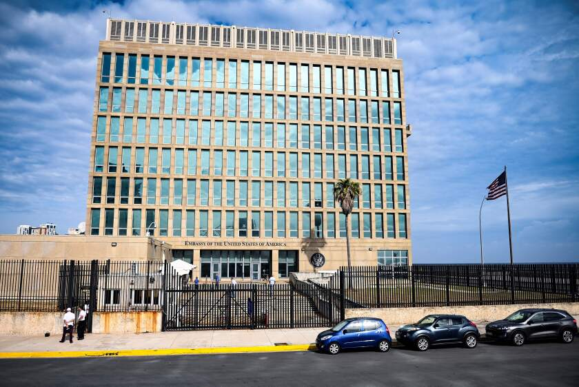 View of the United States Embassy in Havana.