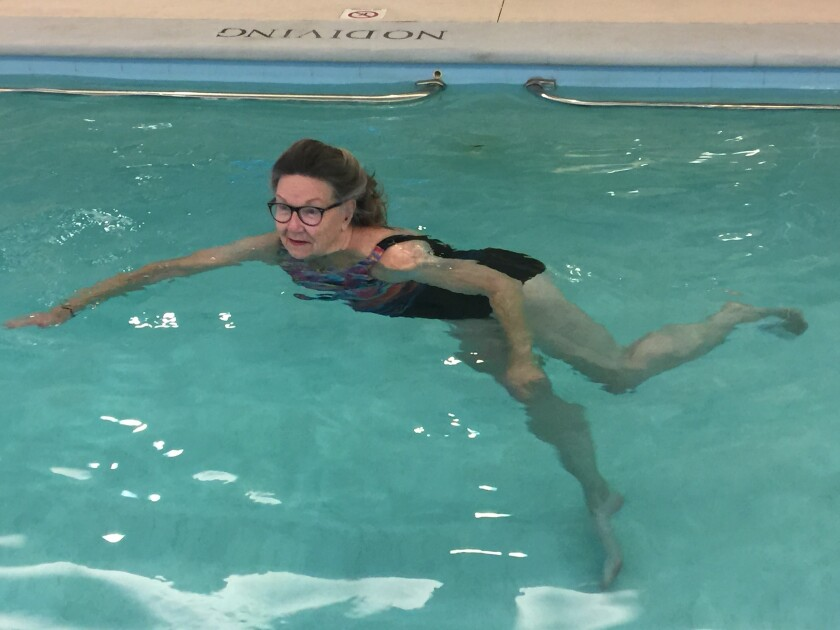 Mary Blackman swims at the Seacrest Retirement Village in Encinitas.