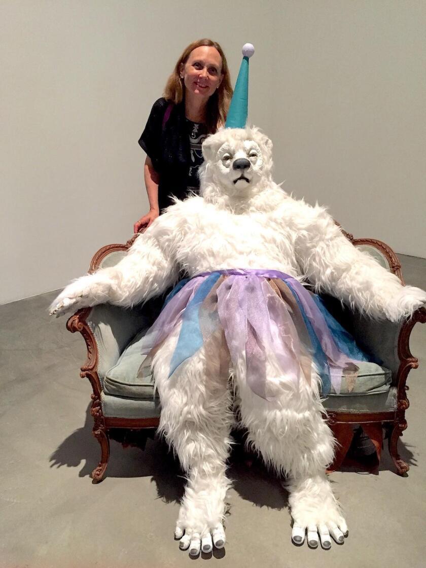 Artist Marnie Weber and Mr. White Bear