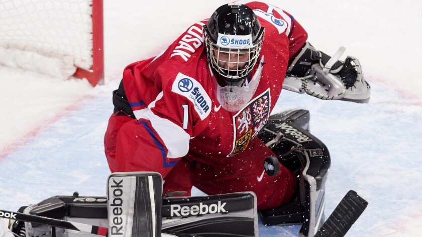 Patrik Bartosak stops a shot against the United States while playing for the Czech Republic in the world junior hockey championships on Jan. 2, 2013.