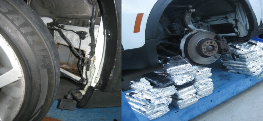 Border Patrol agents found more than $1 million worth of drugs hidden behind a tire of an SUV Sunday morning at a checkpoint
