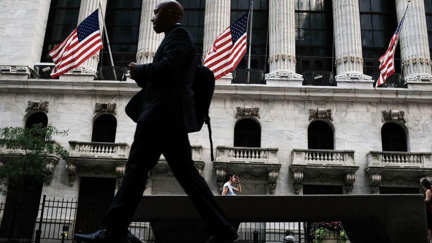 The scene outside the New York Stock Exchange.