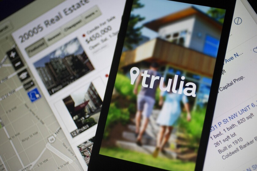 Zillow, the largest U.S. real estate website, plans to buy No. 2 Trulia.