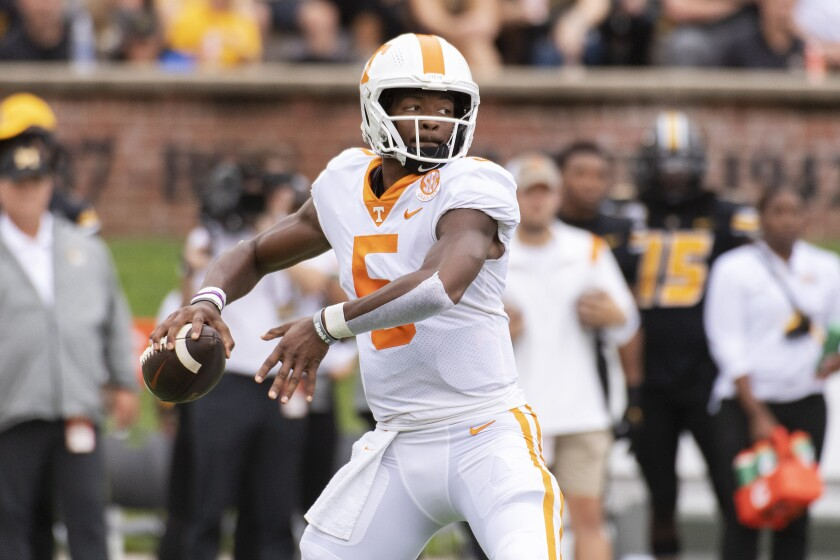 Tennessee quarterback Hendon Hooker throws a pass during the first half of an NCAA college football game against Missouri Saturday, Oct. 2, 2021, in Columbia, Mo. (AP Photo/L.G. Patterson)