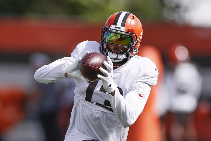 Cleveland Browns wide receiver Odell Beckham Jr. runs through a drill during NFL football practice Wednesday, Sept. 1, 2021, in Berea, Ohio. (AP Photo/Ron Schwane)