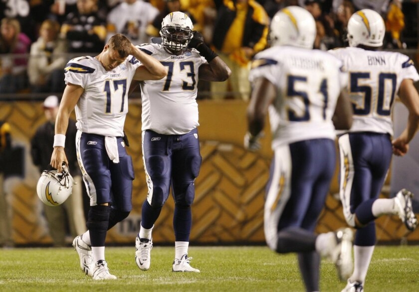 <p>  Malcom Floyd can't haul in a fourth-quarter pass thrown slightly behind him as Champ Bailey (24) and D.J. Williams lower the boom. Floyd caught three passes for 51 yards.  <em>   Sean M. Haffey / UT  </em> </p>