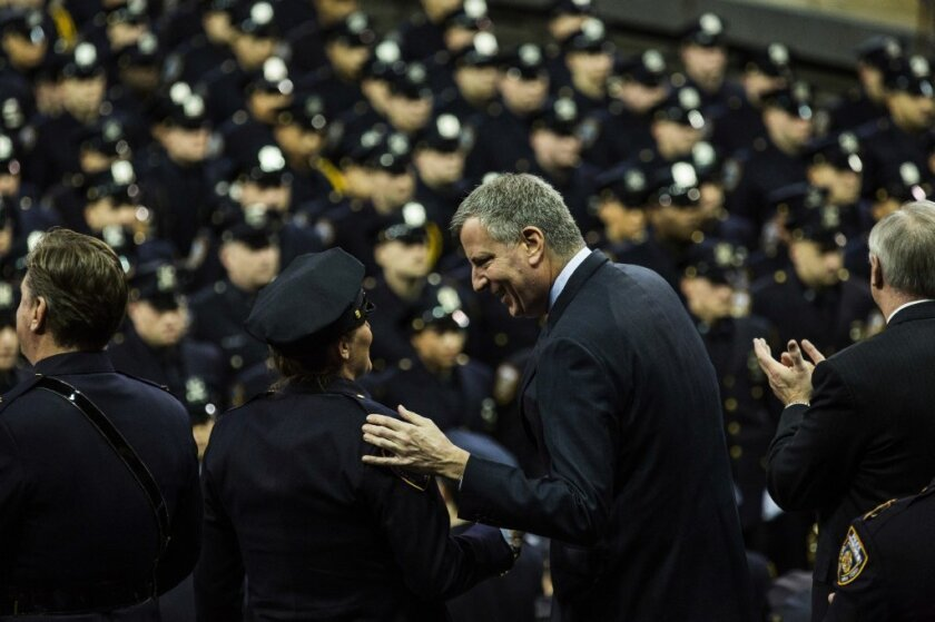 New York Mayor Bill de Blasio attends a New York Police Department graduation ceremony at Madison Square Garden.