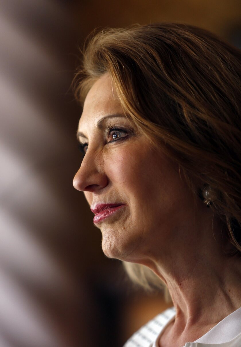 Republican presidential candidate, former Hewlett-Packard CEO Carly Fiorina is seen at a luncheon hosted by the Derry Republican Town Committee, Tuesday, May 26, 2015, in Derry,NH (AP Photo/Jim Cole)