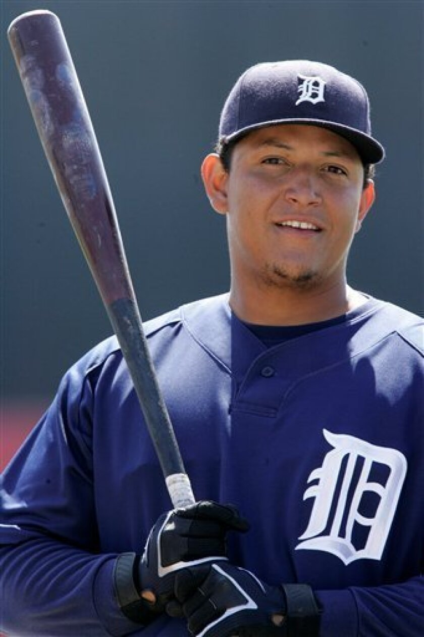 ** FILE ** Detroit Tigers' Miguel Cabrera is shown a during spring training action against the Cincinnati Reds in Sarasota, Fla., in this March 17, 2008 file photo. Miguel Cabrera and the Detroit Tigers finalized their $152.3 million, eight-year contract on Tuesday March 25, 2008, the fourth-largest package among current major leaguers. (AP Photo/Gene J. Puskar)
