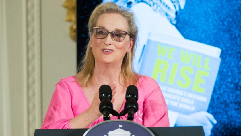 "Meryl Streep speaks at a screening of the new CNN Film ""We Will Rise: Michelle Obama's Mission to Educate Girls Around the World"" at the White House on Tuesday."
