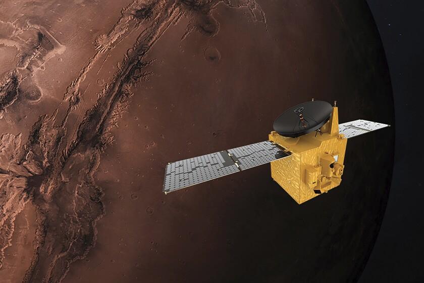 An illustration of the Amal spacecraft orbiting Mars